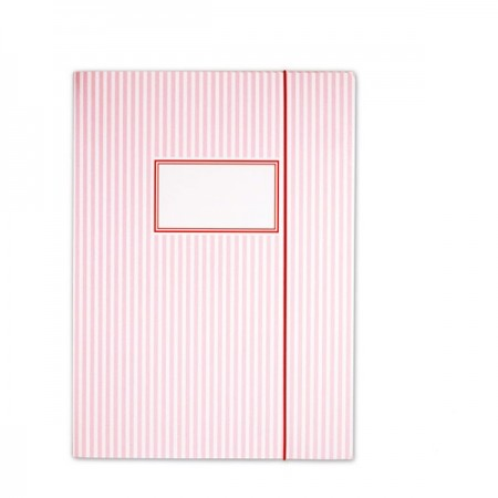 Elasticated Folder Stripes Pink - A4