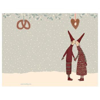 Postal Kiss Duendes  de Navidad pequeña