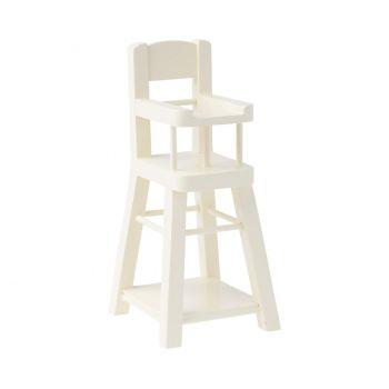 Trona de madera, Bebé Micro - Blanca
