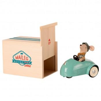 Coche y ratoncito con garaje - azul
