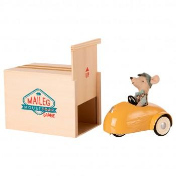 Coche y ratoncito con garaje - amarillo