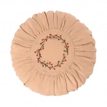 Cojín Redondo 26cm - Bordado de Flores