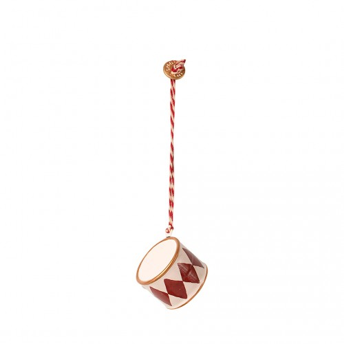 Metal Ornament Small Drum - Red