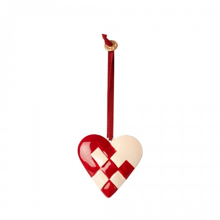 Metal Ornament Braided Heart - Red