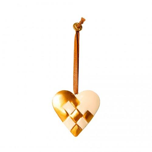 Metal Ornament Braided Heart - Gold