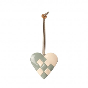 Metal Ornament Braided Heart - Blue
