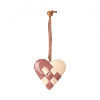 Metal Ornament Braided Heart - Dusty Grape