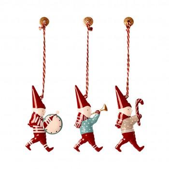 Metal Ornament in matchbox - 3 Pixies