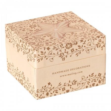 Caja con 6 decoraciones de metal - Dorada/Blanca