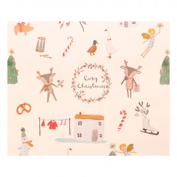 Papel de Regalo Cosy Christmas blanco - 10m.
