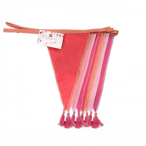 Guirnalda Banderines de tela Rosa (3m)