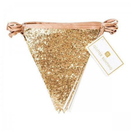 Luxe Gold Glitter Bunting Garland - 3m