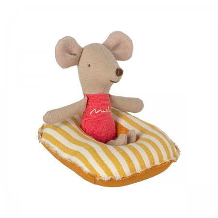Small Mouse Rubber Boat - Yellow Stripe