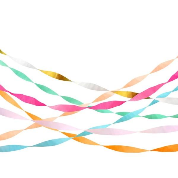 Serpentinas de papel crepe brillante - 7u.