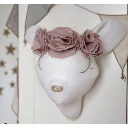 White Linen Deer - Beige Flowers
