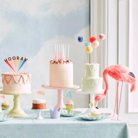 Multi Pompom Cake Topper - 6un