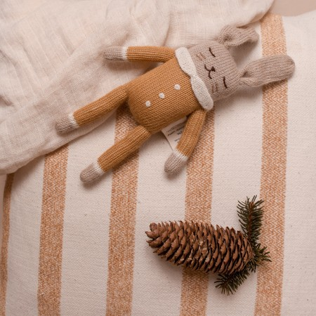 Soft Toy in Ochre Jumpsuit - Bunny