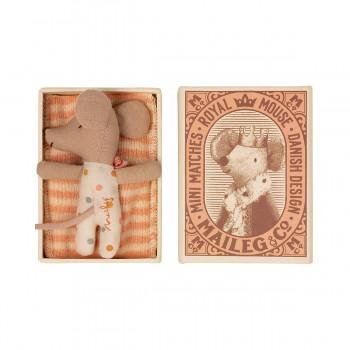 Baby mouse sleepy/wakey in matchbox - Girl  (7cm)