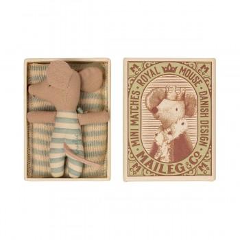 Baby mouse sleepy/wakey in matchbox - Boy  (7cm)