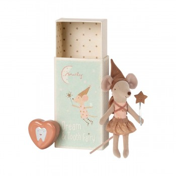 Tooth Fairy Mouse in Matchbox -  Big Rose (12cm)