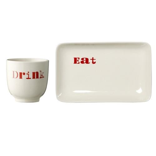 Plato y vaso cerámica