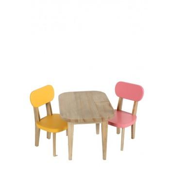 Conjunto mesa y sillas rosa/amarillo.