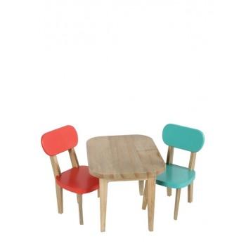 Conjunto mesa y sillas coral/turquesa.