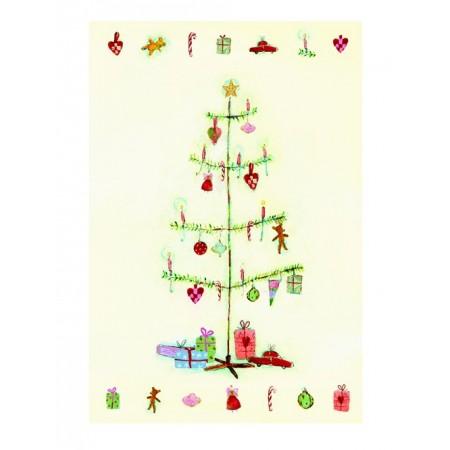 Christmas tree double postcard