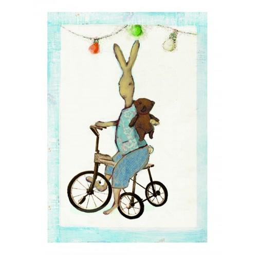 Postal conejito en bicicleta.