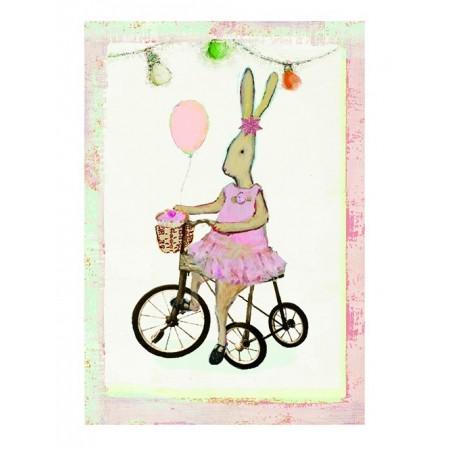 Postal conejita en bicicleta