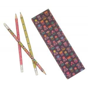 Caja con lápices estampado