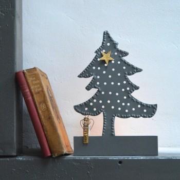 Portavelas árbol Navidad de zinc