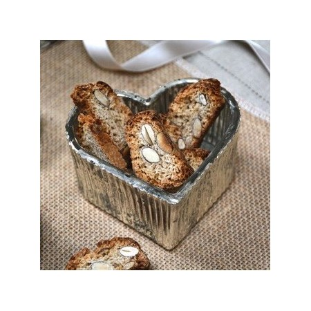 Silver Glass candle holder Heart