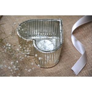 Portavelas corazón cristal plata