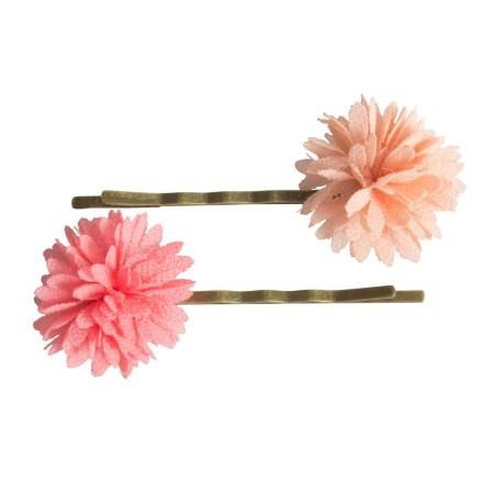 Bobby pins Chiffon flowers rose (2u.)