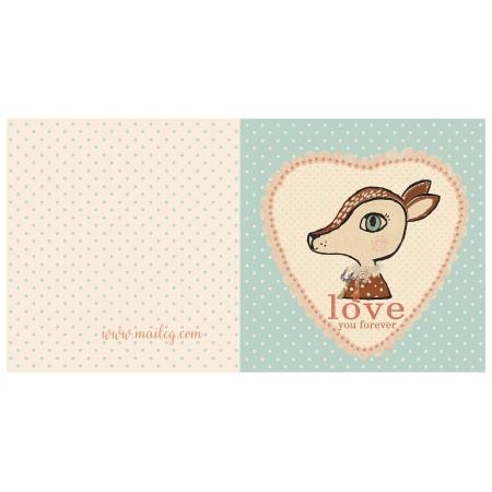 Postal Bambi azul, doble