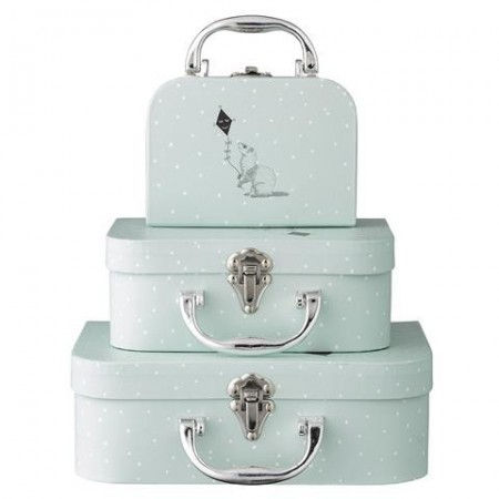 Suitcases, toy, mint. Set of 3