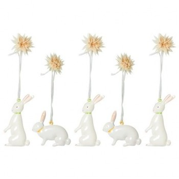 5 Easter metal bunnies in box
