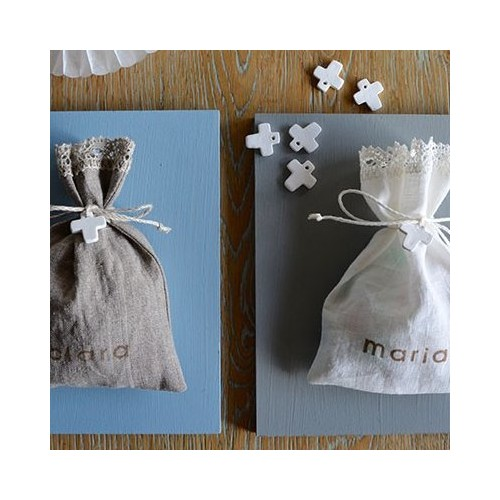 Customized linen candy favor bag. Cross