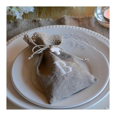 Bolsita de lino  inicial caramelos personalizada