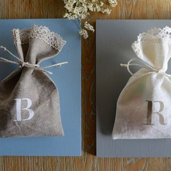 Customized linen candy favor bag. Initial