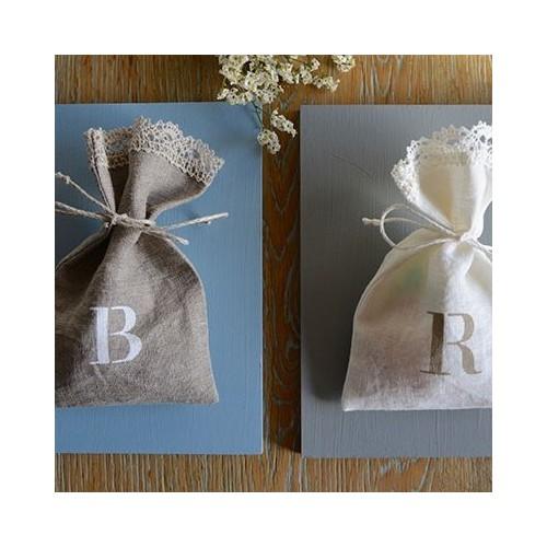 Customized linen candy favor bag. Initial