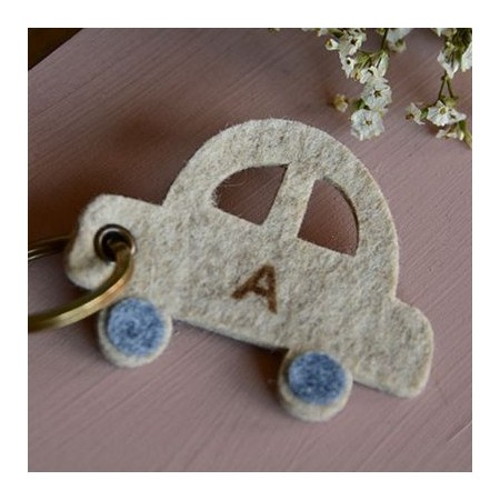 Car/flower felt keychain