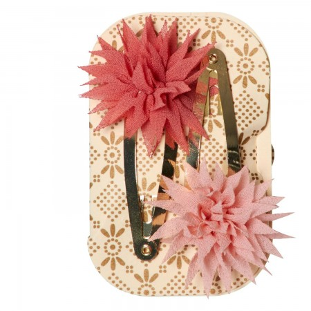 Hair clips Dhalia Raspberry & Melon (2u.)