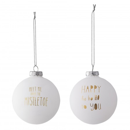 Ornament Christmas white w/gold