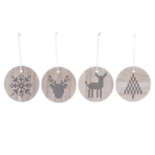 Adornos madera decoración Navidad (4u.)