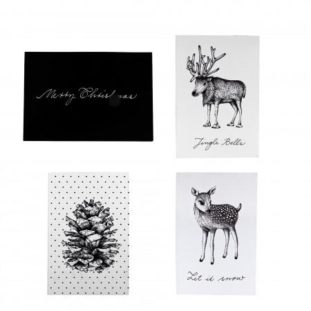 Christmas card white black set 4