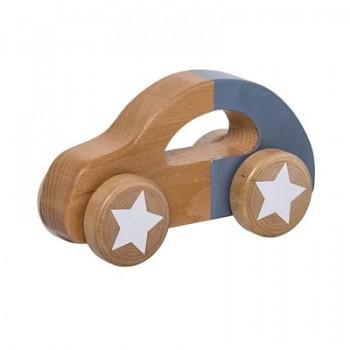Coche de madera, azul