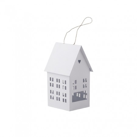 Casa portavelas blanca (17 cm)