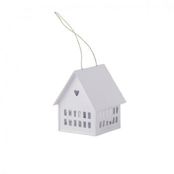 Casa portavelas blanca (10 cm)